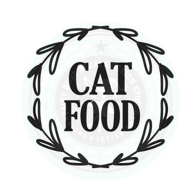 Cat Food Container Decal - wreath design