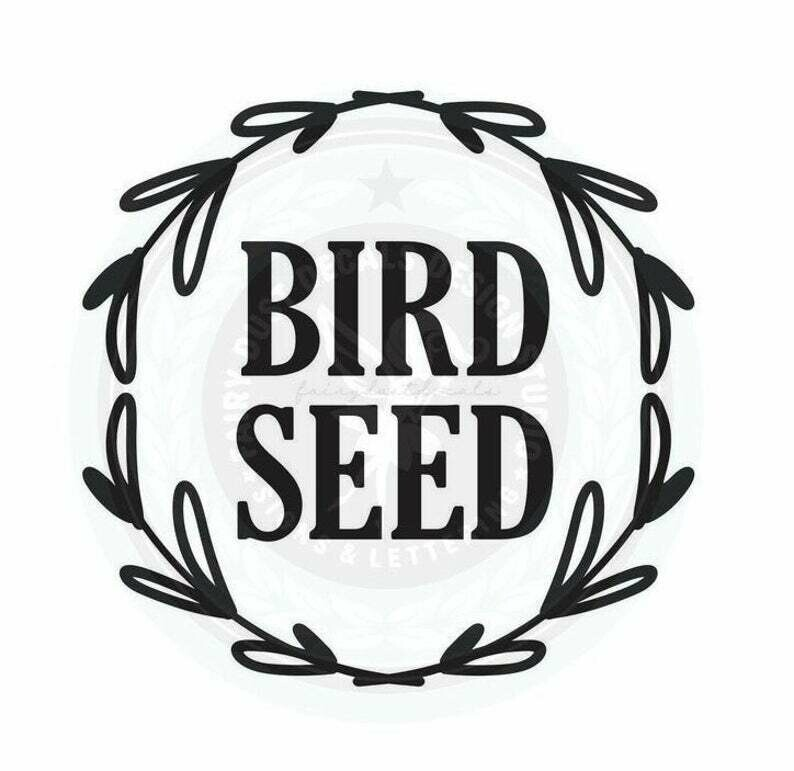 Bird Seed Container Decal - wreath design