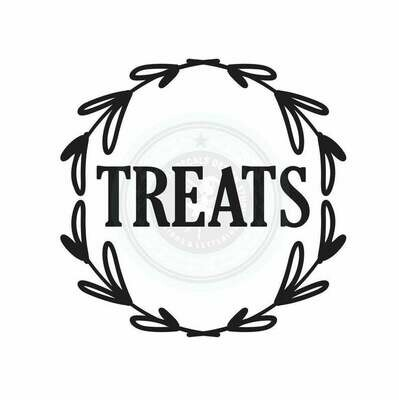 Dog or Cat Treats Container Decal - wreath design