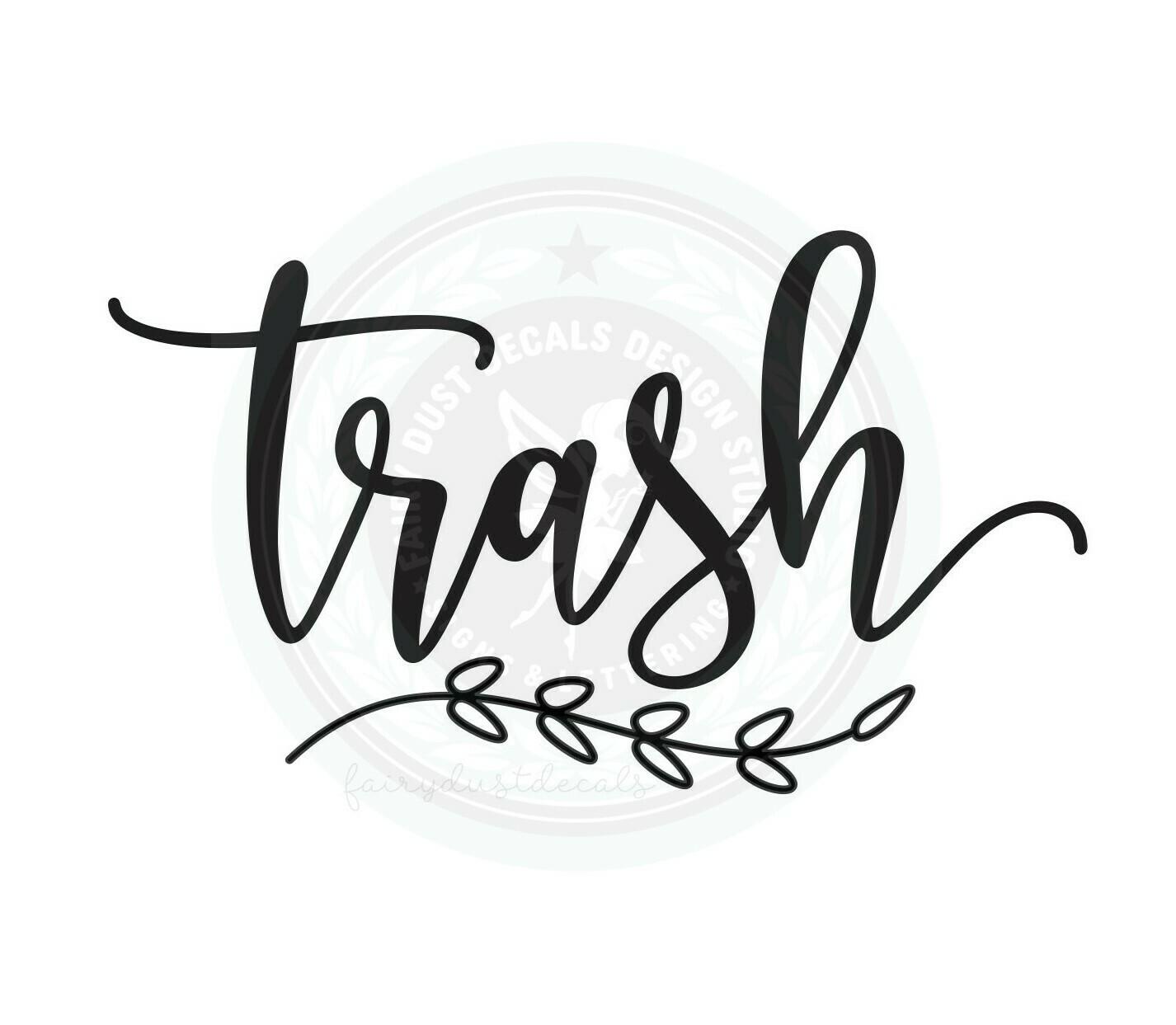 Trash Decal - script style with leaf