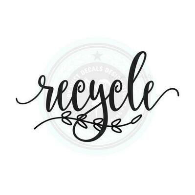 Recycle Decal - script style with leaf