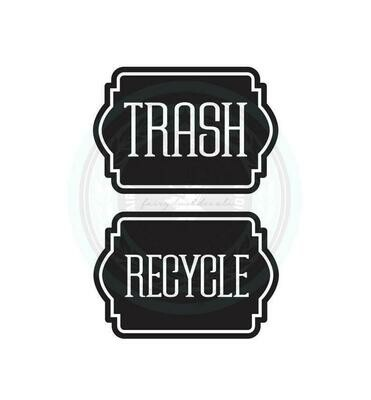 Trash and Recycle Decal Set of 2 - label shape