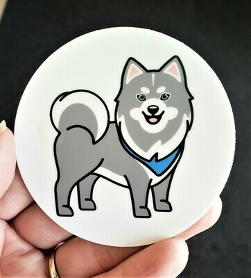 Pomsky Dog Sticker, gray and white, 3 x 3 inches round