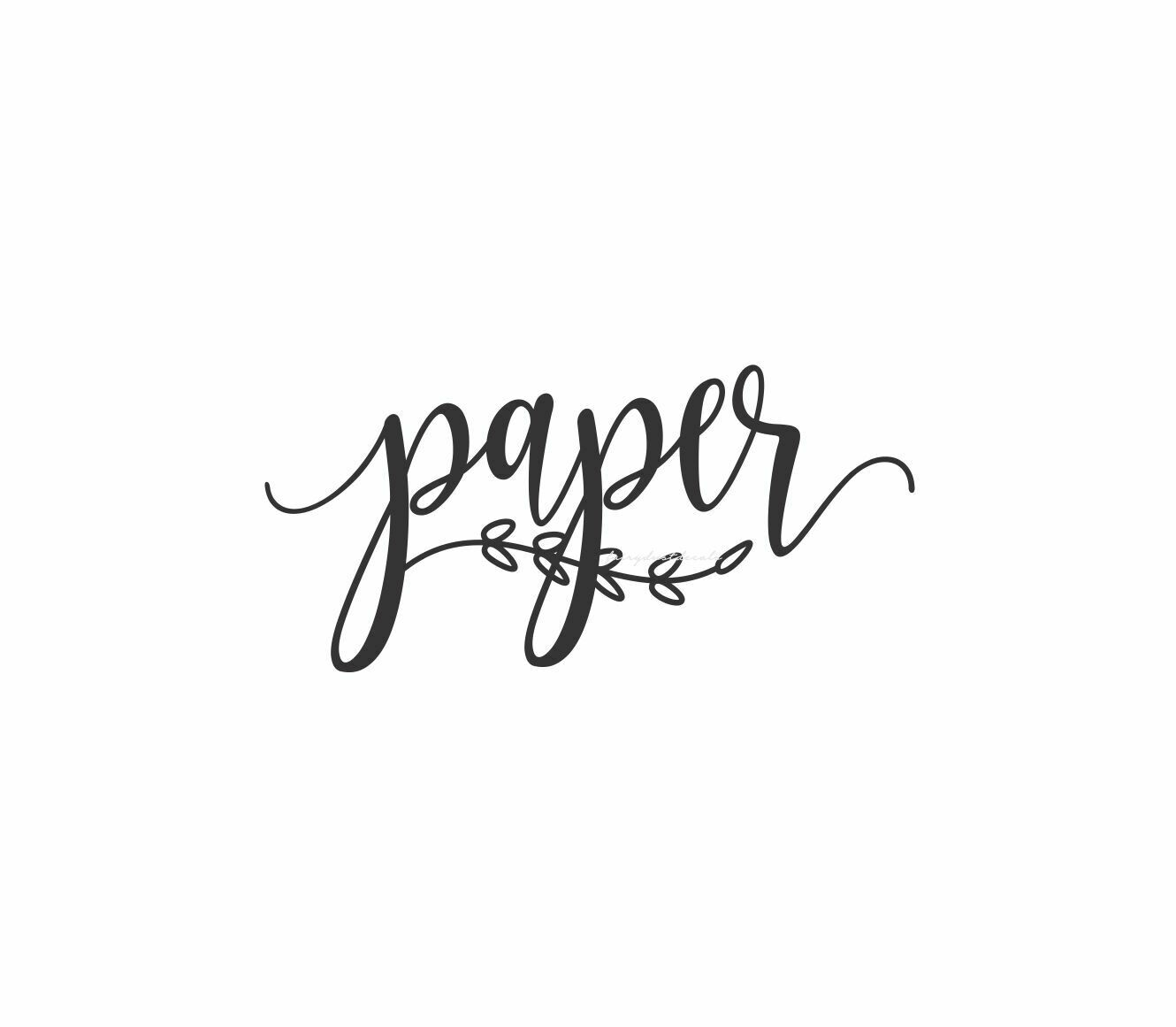 Paper Decal - script style with leaf