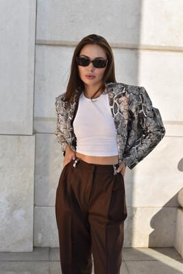 Кроп пиджак «Кобра» с брюками из итальянской шерсти