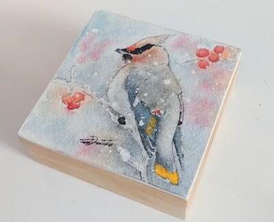 Waxwing Bird Box Original Watercolor