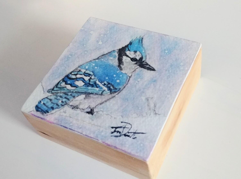 Bluejay Bird Box Original Watercolor