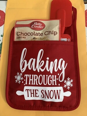 Baking through the snow pocket pot holder