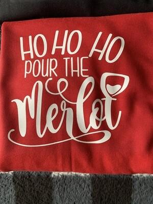 Ho Ho Ho pour the merlot pocket pot holder