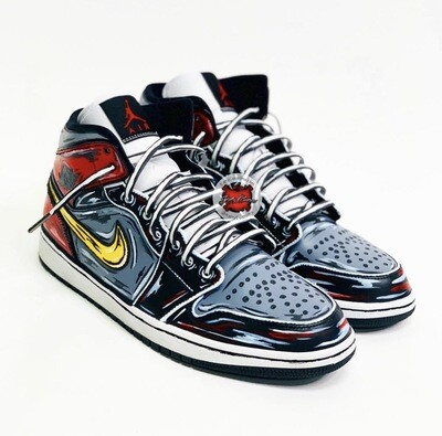 Cartoon Jordan 1 Mid (Red Black Gray)