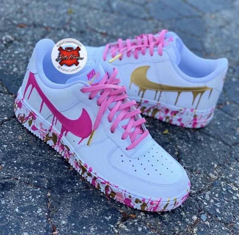 Pink & Gold Drip AF1 Low