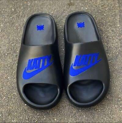 Blueberry/ Black Katty Slides