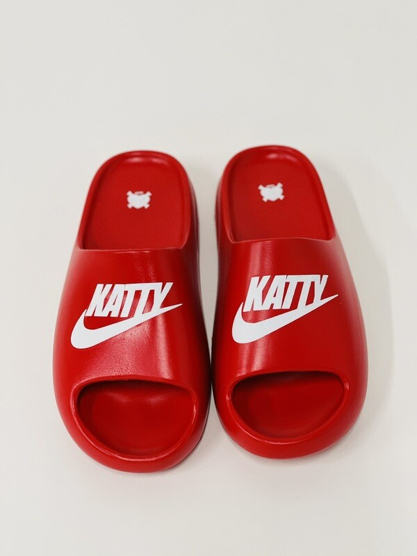 Cherry Red & White Katty Slides