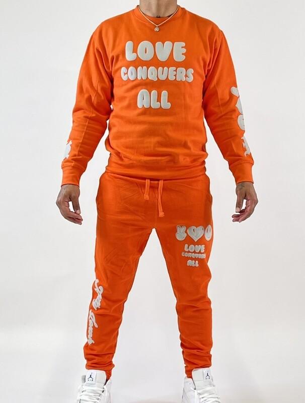 Orange & Gray Love Conquers All Sweatsuits