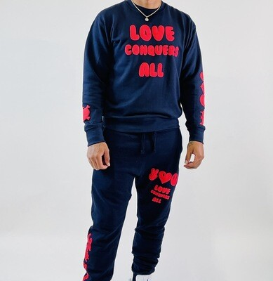 Navy Blue & Red Love Conquers All Sweatsuit