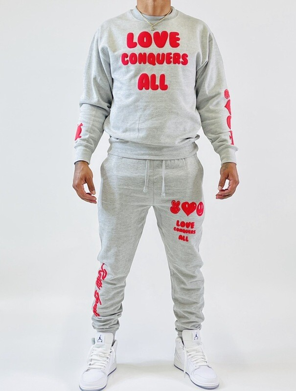 Gray & Red Love Conquers All Jogger Sweatsuit