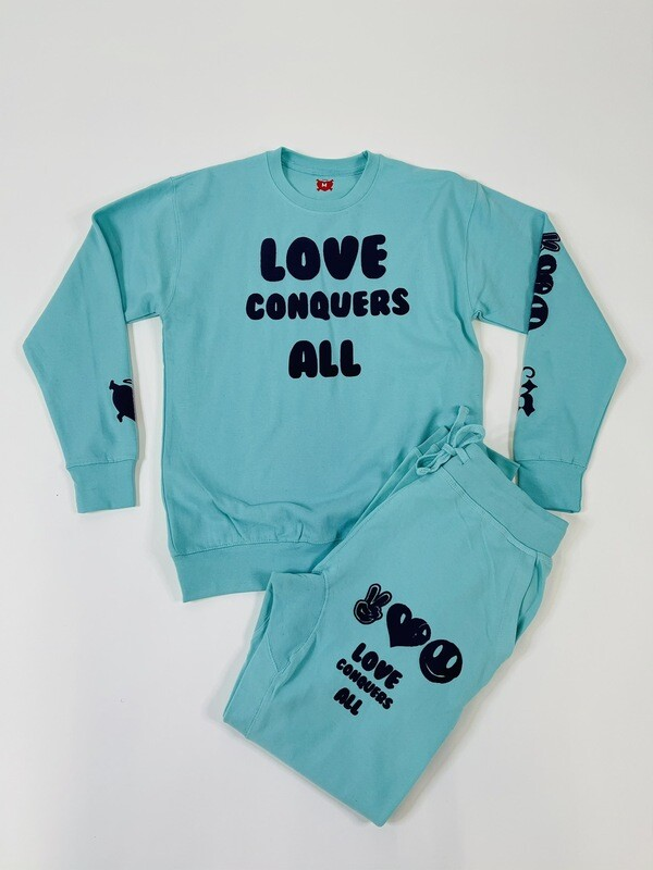 Celadon & Navy Blue Love Conquers All Jogger Sweatsuit