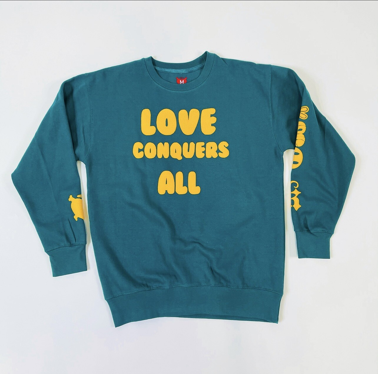 """Teal & Yellow """"Love Conquers All"""""""