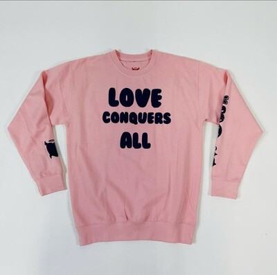 "Pink & Purple ""Love Conquers All"" Crewneck Sweater"