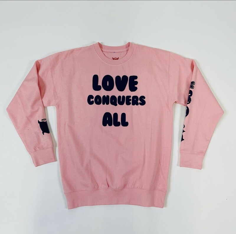 """Pink & Purple """"Love Conquers All"""" Crewneck Sweater"""