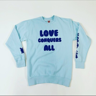 "Light Blue & Navy Blue ""Love Conquers All"" Crewneck Sweater"