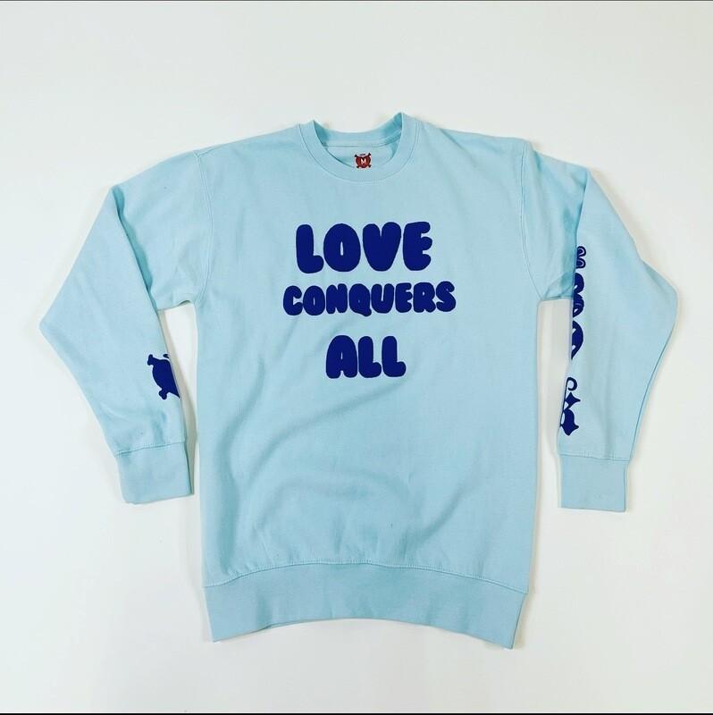 "Light Blue & Navy Blue ""Love Conquers All"" Crewneck Sweater"