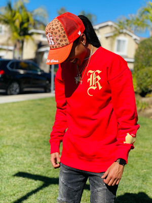 """Red """"LCA"""" Oversized Pullover Sweater"""