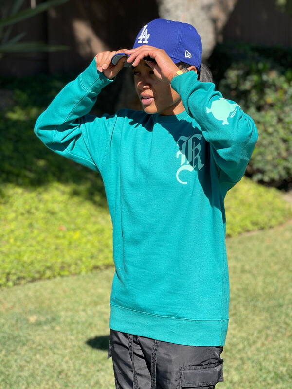 """Teal """"LCA"""" Oversized Pullover Sweater"""