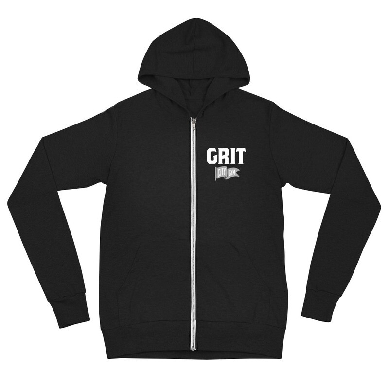 GRIT New Logo Unisex Lightweight Zip Hoodie (Black & Charcoal)