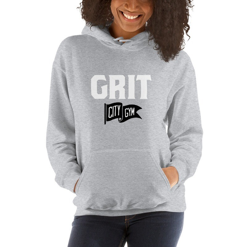 GRIT New Logo Unisex Hoodie (Gray & Red)