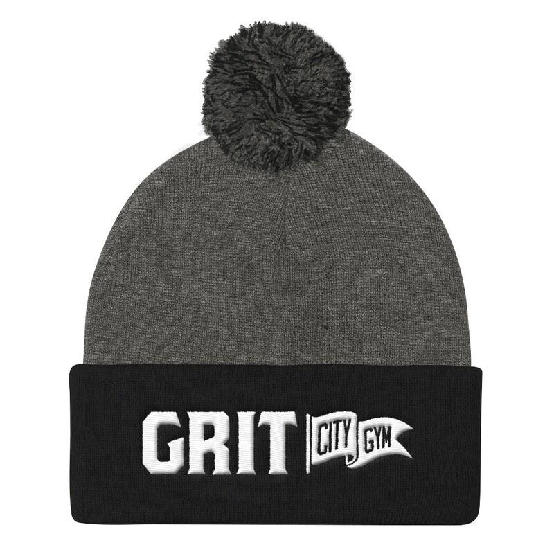 GRIT 3D Logo Fuzzy Ball Knit Cap