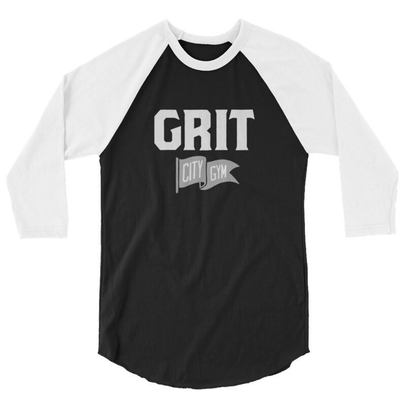 GRIT New Logo Unisex 3/4 Raglan (Black & White)