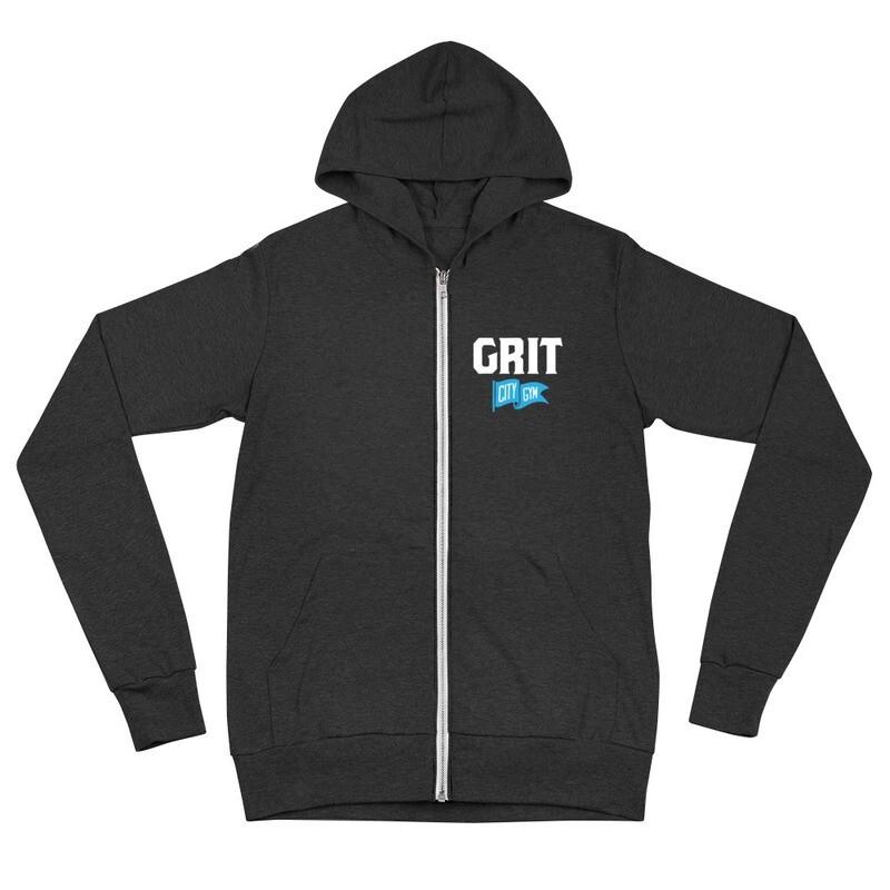 GRIT New Logo Unisex Lightweight Zip Hoodie (White & Blue Logo)