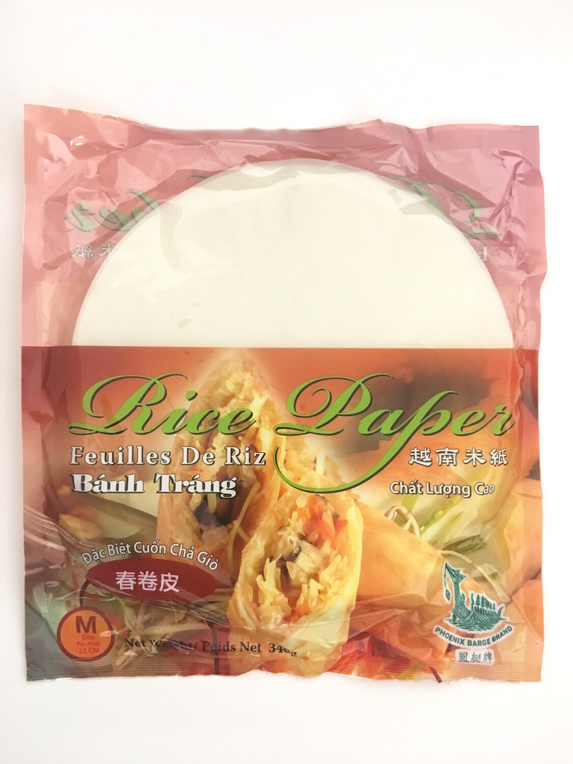 PHOENIX BARGE BRAND RICE PAPER FOR SPRING ROLL 30X340G
