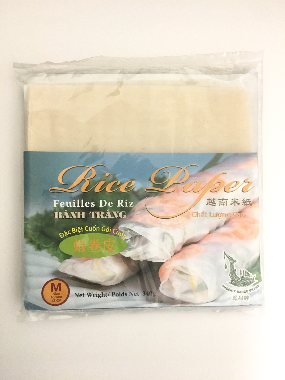 PHOENIX SQUARE RICE PAPER FOR FRESH ROLL 22CM 30X340G