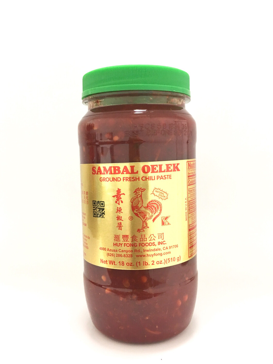 HUYFONG SAMBAL OELEK GROUND FRESH CHILI PASTE 12X18OZ
