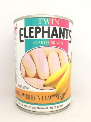 TWIN ELEPHANTS BANANA (WHOLE) IN HEAVY SYRUP  24X565G
