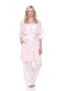PJ Harlow Shala Satin Trim and Supima Cotton Robe - Pink  Size XL/XXL   Last One