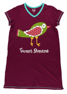Maroon Tweet Dreams Sleep Shirt