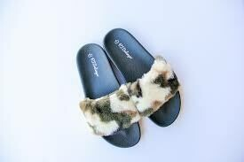 PJ Salvage Women's Camo, Heart, Love Slipper Slides Size 5/6, 7/8, and 9/10
