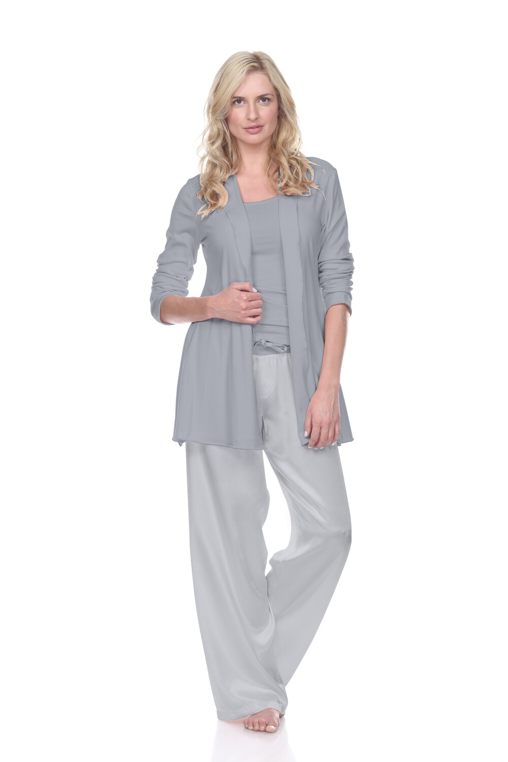 PJ Harlow Amelia Women's Cardigan Lounge Jacket- silver grey - phasing out color