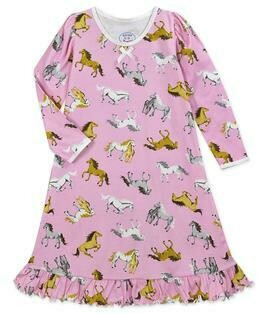 Saras Prints Super Soft Pajama Pink Horses Nightgown size 2, 4, 8, 10