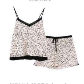 Women's Animal Spot Black Luxe Cami PJ Short Set
