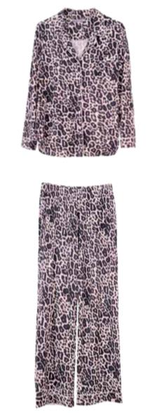Women's Modal Leopard Pajama Set Size 10, 12