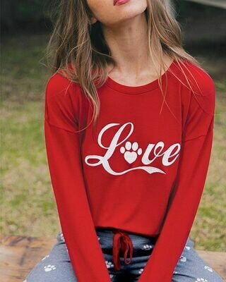 PJ Salvage Red Love Super Soft Long Sleeve Lounge Shirt Size XL ONLY 1 LEFT