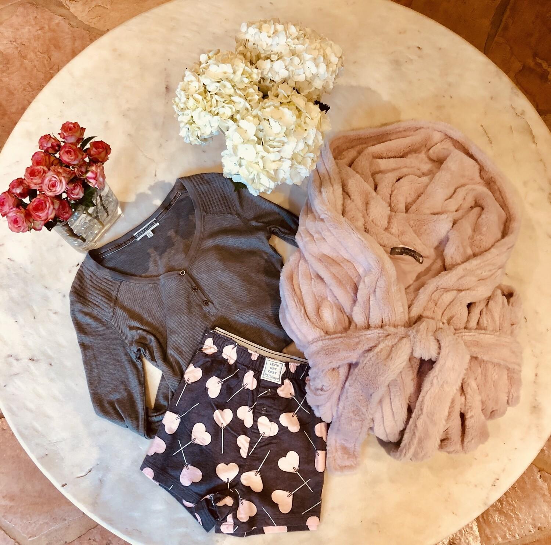 PJ Salvage Grey and Pink Hearts Designer Pajama Short Size XL