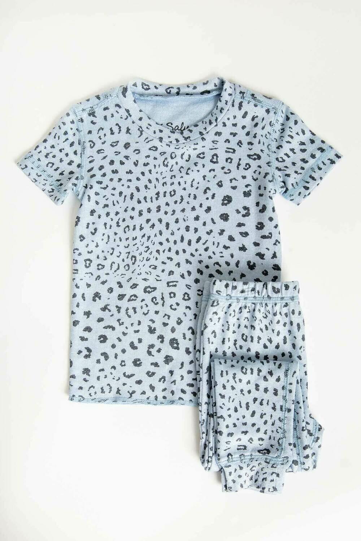 PJ Salvage Childrens Blue Leopard Print Children's Pajama Set Size 2, 4, 5, 6