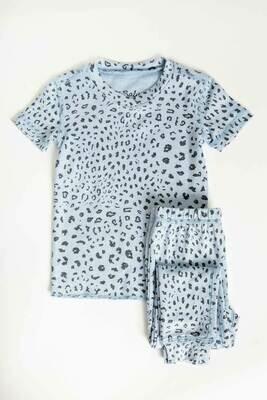 PJ Salvage Childrens Blue Leopard Print Children's Pajama Set Size 2 - 6