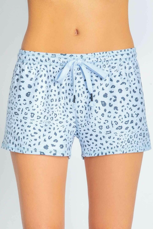 PJ Salvage Womens Blue Leopard Pajama Short  Size XL