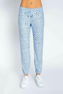 PJ Salvage Womens Blue Leopard PJ Loungewear Jogger Pants Size:  L, XL